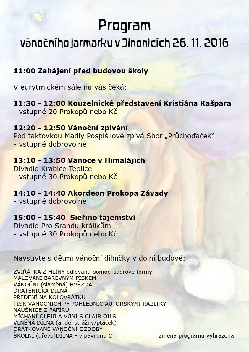 Program vánočního jarmarku Waldorfské školy v Praze Jinonicích