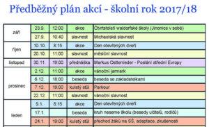 přehled plánovaných akcí aaktualizace kalendáře